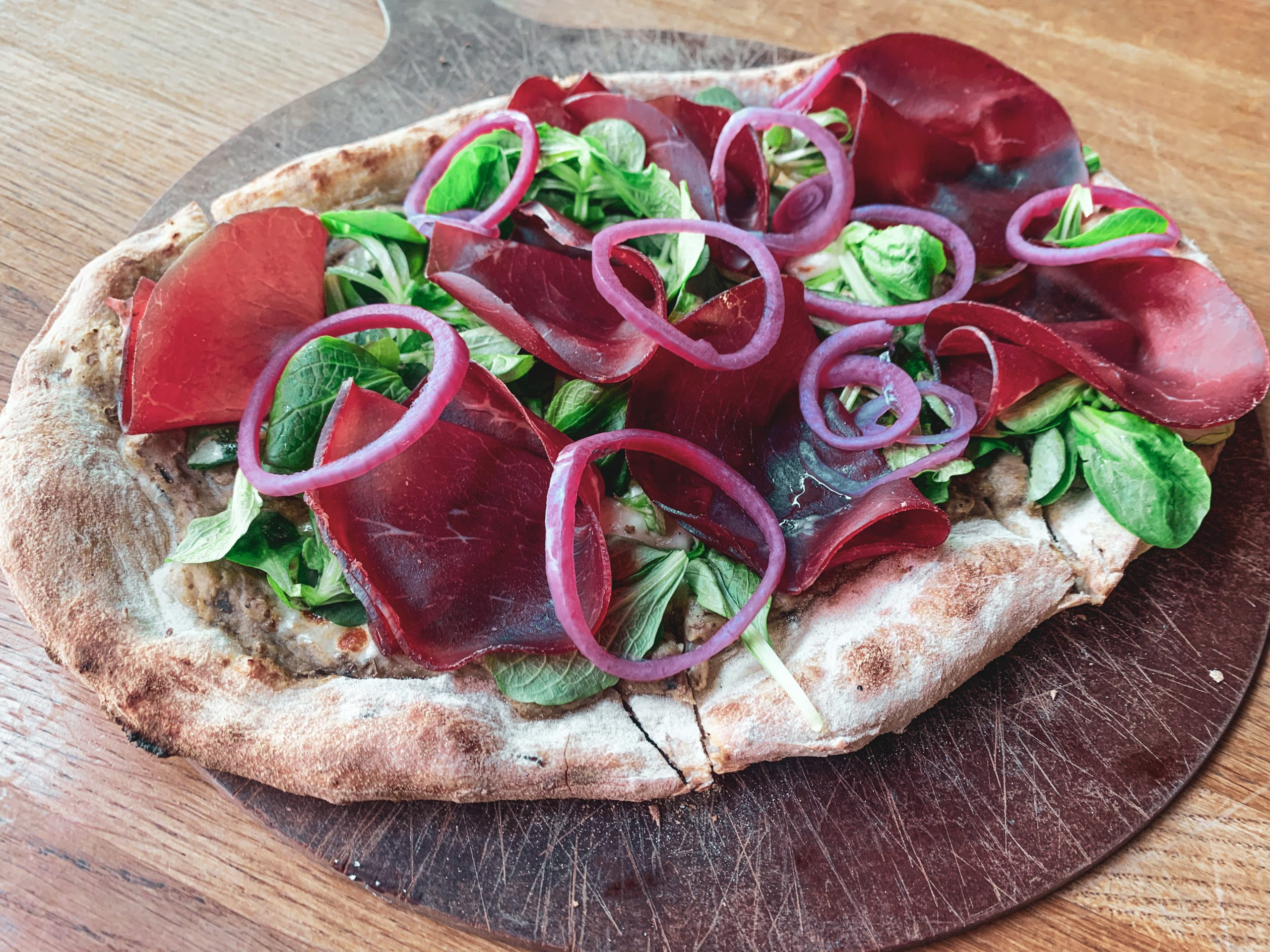 Pizza with Eggplant, Bresaola and Lambs Lettuce